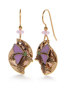 Silver Forest Gold-Tone Enchanted Garden Butterfly Drop Earrings