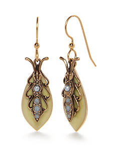 Silver Forest Gold-Tone Enchanted Garden Pearl Insect Drop Earrings