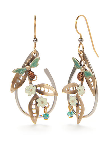 Silver Forest® Two-Tone Flower and Bee Drop Earrings