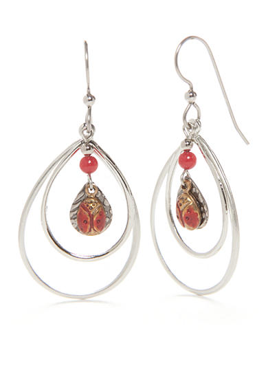 Silver Forest® Silver-Tone Ladybug Open Teardrop Earrings