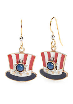 Silver Forest® Gold-Tone American Pride Red, White and Blue Top Hat Drop Earrings