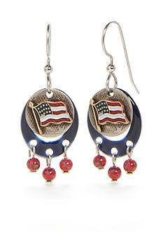 Silver Forest® Silver-Tone American Pride Red, White and Blue Flag Drop Earrings