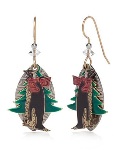 Silver Forest® Gold-Tone Whimsical Winter Penguin Earrings