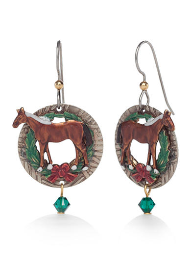 Silver Forest® Multi-Tone Whimsical Winter Horse on Wreath Earrings