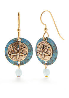 Silver Forest Gold-Tone Sealife Sand Dollar Drop Earrings