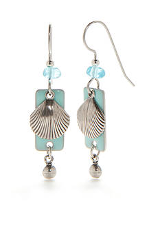 Silver Forest Silver-Tone Sealife Aqua Clam Drop Earrings