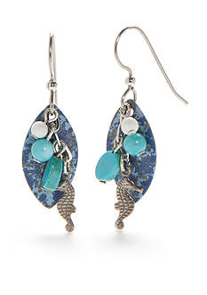Silver Forest Silver-Tone Sealife Aqua Seahorse Drop Earrings