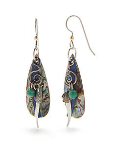 Silver Forest Silver-Tone Sealife Green Abalone Shell Drop Earrings