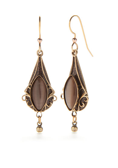 Silver Forest® Gold-Tone Brown Cats Eye Filigree Drop Earrings