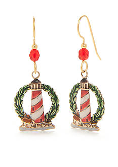 Silver Forest® Gold-Tone Lighthouse on Wreath Drop Earrings