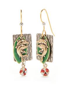 Silver Forest® Gold-Tone Dolphin Surfer Drop Earrings