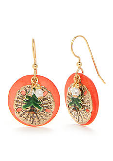 Silver Forest® Gold-Tone Christmas Tree on Shell Drop Earrings
