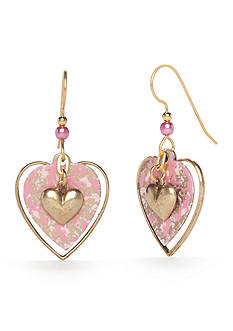 Silver Forest® Gold-Tone Will You Be Mine Layered Heart Drop Earrings