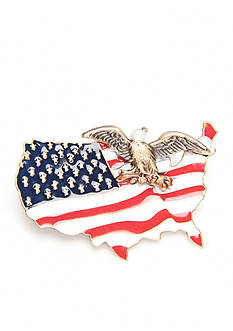 Silver Forest® Gold-Tone American Pride Eagle and Red, White and Blue Flag Pin
