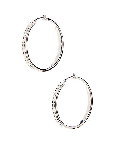 Lauren Ralph Lauren Large Click-it Silver Tone Hoop Earring