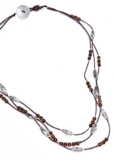 Lauren Ralph Lauren Brown Cord with Textured Metal and Wood Beads