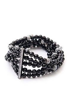 Lauren Ralph Lauren Hematite-Tone Hide and Chic Stretch Bracelet