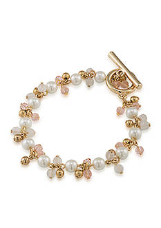 Lauren Ralph Lauren Feminine Glam Gold Plated Beaded Bracelet