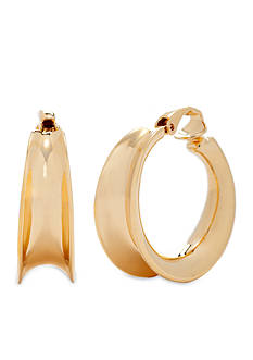 Lauren Ralph Lauren Gold-Tone Concave Hoop Clip Earrings