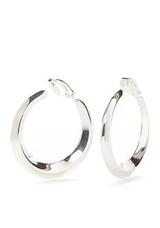 Lauren Ralph Lauren Luxe Links Silver-Tone Knife Edge Hoop Clip Earring