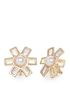 Lauren Ralph Lauren Pearls Rock Flower Clip Earring