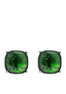 Lauren Ralph Lauren Hematite-Tone Hide and Chic Green Earrings