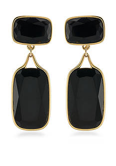 Lauren Ralph Lauren Gold-Tone Treasure Trove Black Double Drop Earrings