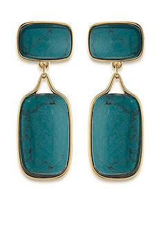 Lauren Ralph Lauren Gold-Tone Treasure Trove Turquoise Double Drop Earrings