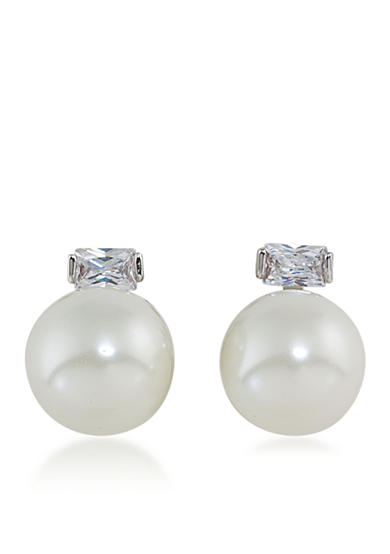 Lauren Ralph Lauren Downtown Modern 14mm Pearl and Baguette Clip On Earrings