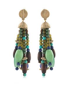 Lauren Ralph Lauren Beaded Tassel Clip Earrings