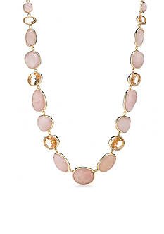 Lauren Ralph Lauren Gold-Tone Pink Sands Oval Stone Collar Necklace