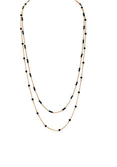 Lauren Ralph Lauren Gold-Tone Black Beaded Long Necklace