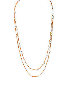 Lauren Ralph Lauren Gold-Tone Chic Mother of Pearl Beaded Long Necklace