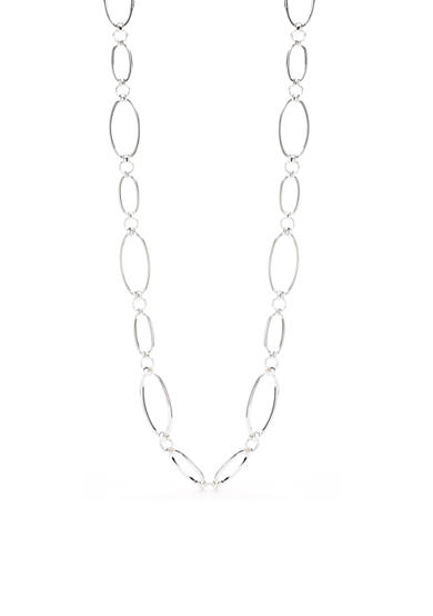 Lauren Ralph Lauren Silver-Tone Back To Basics Oval Link Long Necklace
