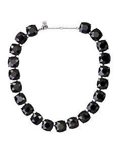 Lauren Ralph Lauren Silver-Tone Hide and Chic Black All Around Collar Necklace