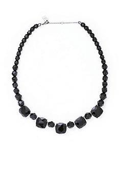 Lauren Ralph Lauren Silver-Tone Hide and Chic Black Beaded Necklace