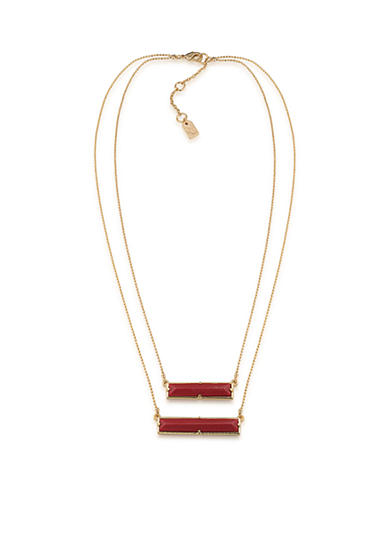 Lauren Ralph Lauren Gold-Tone Match Point Red Two Row Rectangle Pendant Necklace