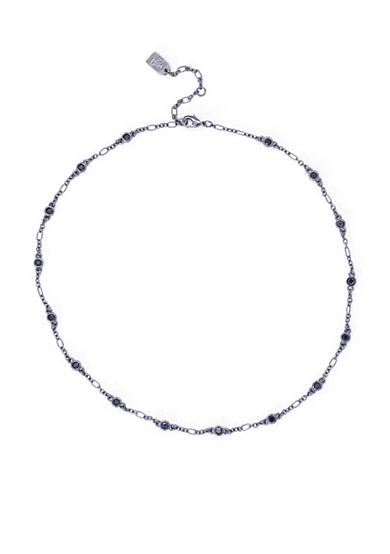 Lauren Ralph Lauren Hide and Chic Hematite-Tone Black Illusion Collar Necklace