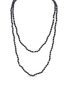 Lauren Ralph Lauren Hematite-Tone Hide and Chic Two Row Beaded Necklace