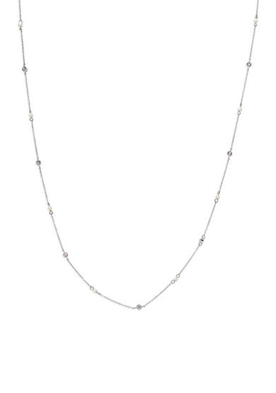 Lauren Ralph Lauren Silver-Tone Social Set Pearl Stone Illusion Necklace