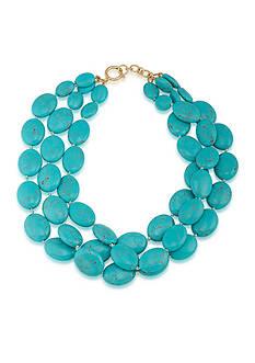 Lauren Ralph Lauren Gold-Tone Lauren Natural Instincts Turquoise Three Row Necklace