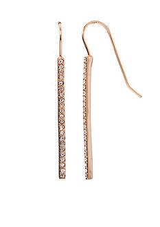 Lauren Ralph Lauren Rose Gold-Tone Social Crystal Linear Drop Earrings