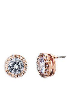 Lauren Ralph Lauren Rose Gold-Tone Social Halo Crystal Stud Earrings