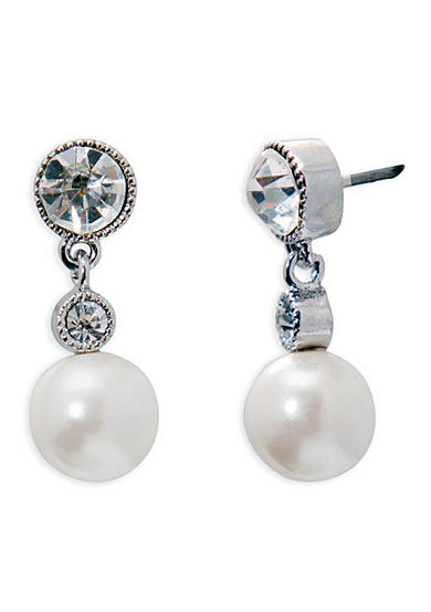 Lauren Ralph Lauren Silver-Tone Social Set Pearl Crystal Drop Earrings
