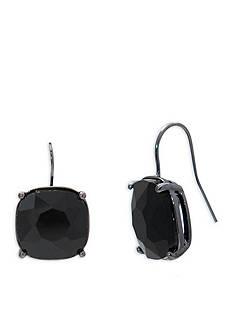 Lauren Ralph Lauren Hematite-Tone Hide and Chic Black Stone Drop Pierced Earrings