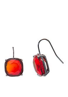 Lauren Ralph Lauren Hematite-Tone Hide and Chic Red Earrings