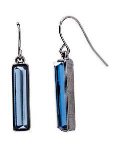 Lauren Ralph Lauren Hematite-Tone Hide and Chic Blue Rectangular Earrings