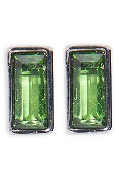 Lauren Ralph Lauren Hematite-Tone Hide and Chic Green Rectangular Stud Earrings