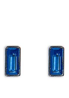 Lauren Ralph Lauren Hematite-Tone Hide and Chic Blue Rectangular Stud Earrings