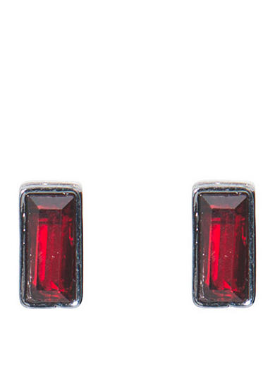 Lauren Ralph Lauren Hematite-Tone Hide and Chic Red Rectangular Stud Earrings